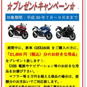 スズキ GSX250R 用品プレゼントキャンペーン延長!
