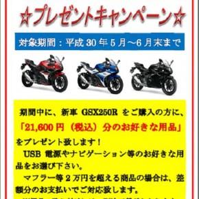 スズキ GSX250R 用品プレゼントキャンペーン